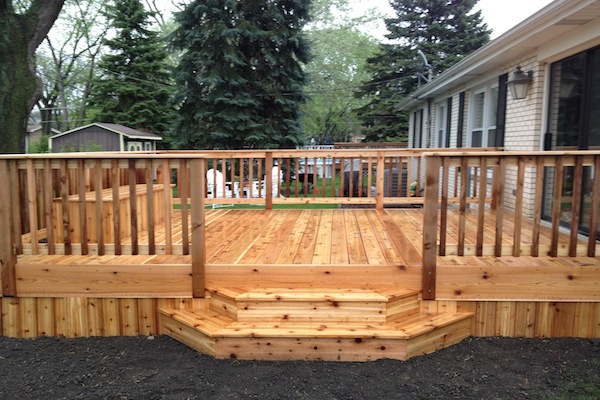 Cedar Deck with Flared Stairs McHenry County
