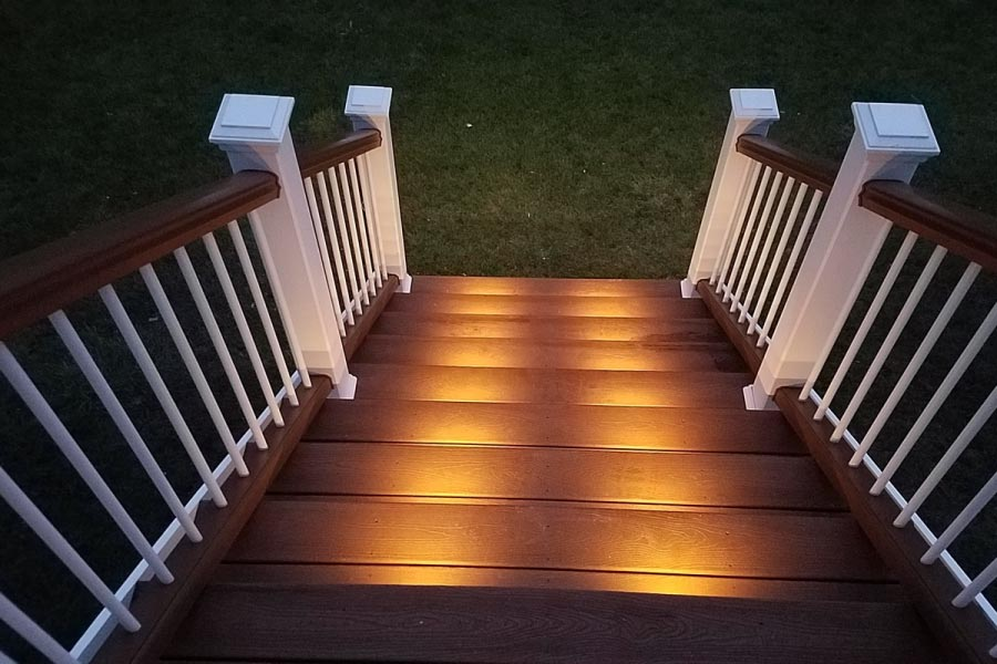 Tree House Trex® Deck with White Railings & Stair Riser Lights McHenry County