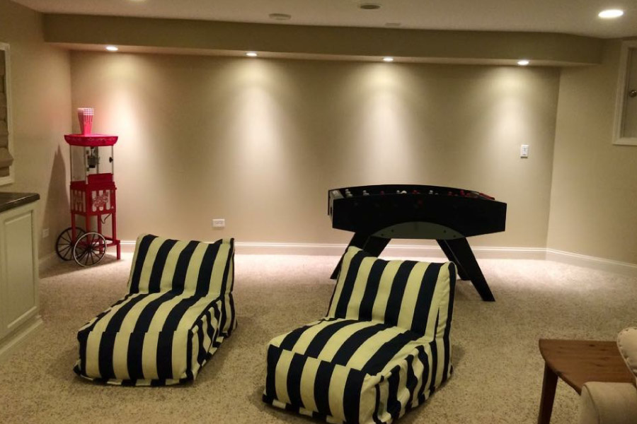 Basement Game Area with Down Lighting McHenry
