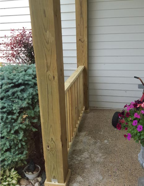 Basic Wood Front Porch Railing Mchenry County