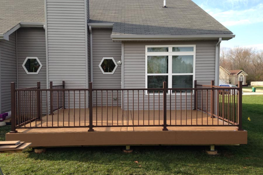 Beach Dune Trex® Enhance Deck with Trex® Reveal Bronze Railings Lake County