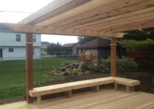 Built-in Benches on Cedar Deck with Pergola Twin Lakes