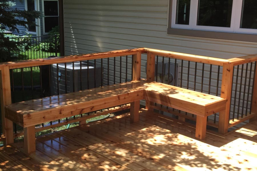 Cedar Deck Bench with Black Aluminum Balusters Lake County