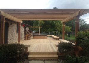 Cedar Deck and Free-standing Pergola Twin Lakes