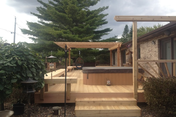 Cedar Deck and Pergola with Benches around Hot Tub Twin Lakes