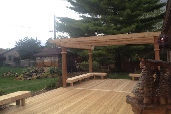 Cedar Deck and Pergola with Built-in Benches Twin Lakes