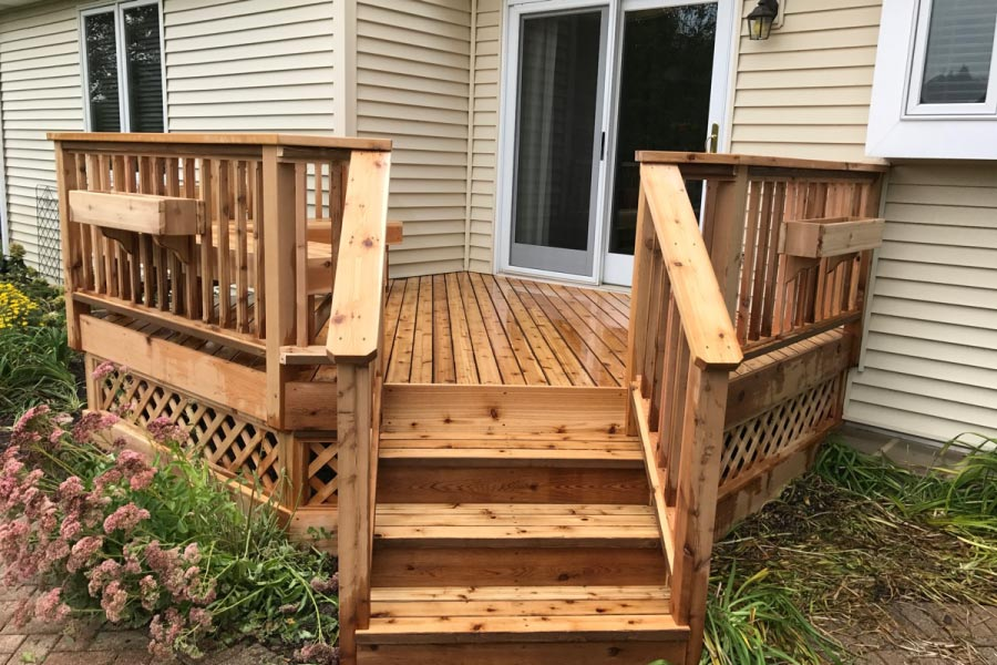Cedar Deck with Lattice , Flower Boxes and Bench Lake County