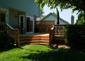 Cedar Deck with Privacy Wall McHenry County