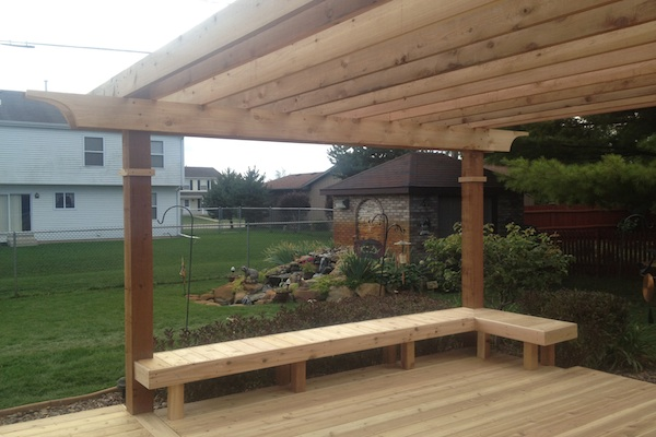 Cedar Pergola with Built-in Bench