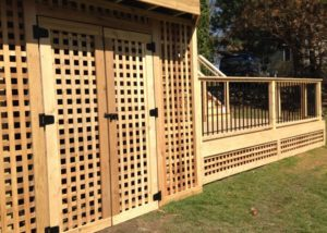 Cedar Under Deck Storage with Lattice McHenry