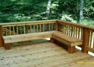 Cedar Wood Deck with Built-in Bench Lake County