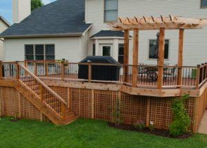 Cedar and Trex® Combo Deck with Cedar Decorative Pergola South Elgin