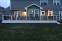Clam Shell Trex® Decking with White Transcend Railings Barrington
