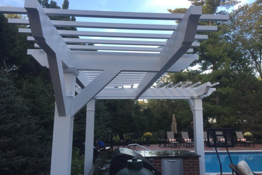 Custom L Shaped Trex® Pergola