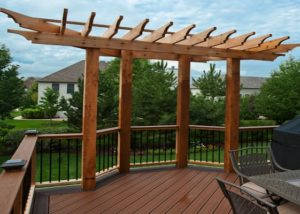 Decorative Cedar Pergola Built Into Deck Elgin