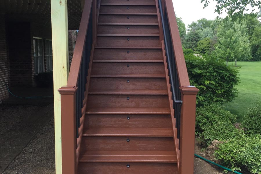 Fire Pit Trex® Deck Stairs with Stair Lights Lake County
