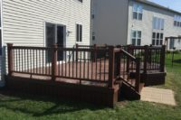Fire Pit Trex® Deck with Black Aluminum Balusters Antioch