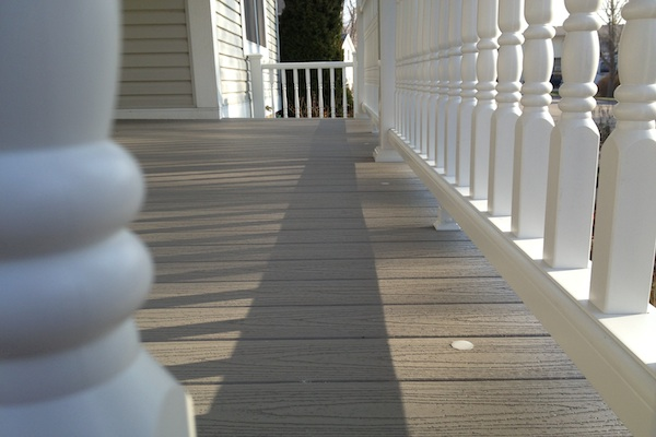 Flush Mount Lights on Trex® Front Porch West Dundee