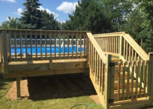 Free-standing Wood Pool Deck with Gate Lake County