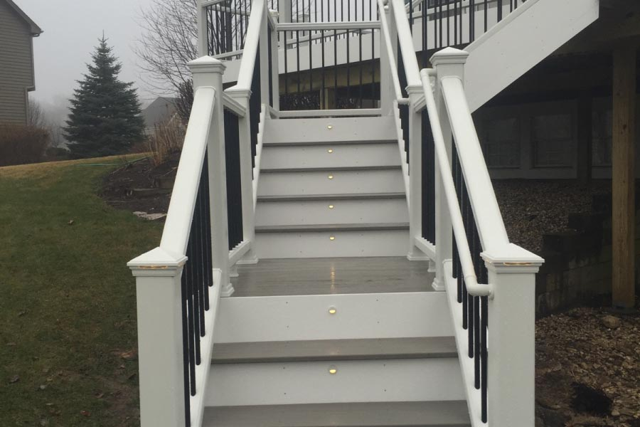 Gravel Path Trex® Deck with Stair Riser Lights Lake County