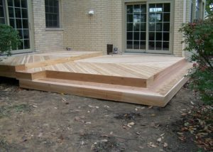Ground Level Custom Cedar Deck Lake Forest