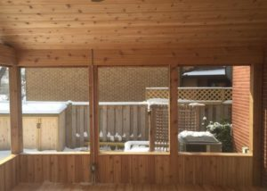 Interior of Cedar Screen Room with Knee Walls Lake County