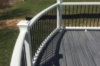 Island Mist Trex® Deck with White Trex® Curved Railing Lake Forest