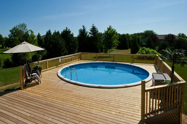 Large Wood Pool Deck McHenry County