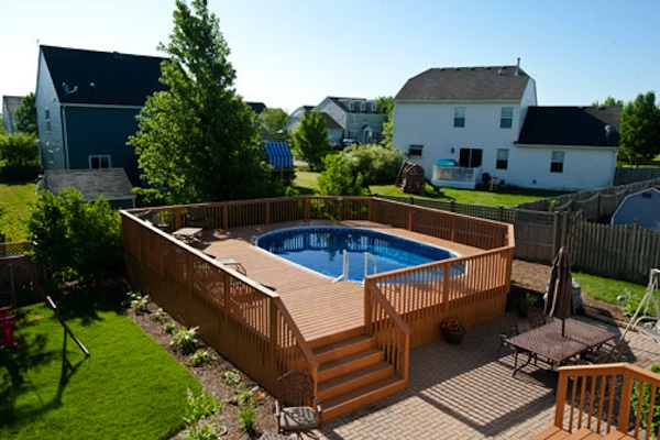 Large Wood Pool Deck for Oval Pool McHenry County