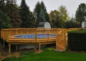 Large Wood Pool Deck with Gate Algonquin