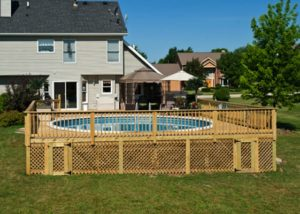 Pool Deck with Lattice Skirting McHenry County