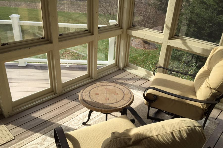 Rope Swing Trex® Decking Inside Screen Room McHenry County