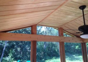 Screen Room Wood Ceiling with Fan Lake County