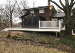 Screen Room with Trex® Deck showing White railings Bull Valley