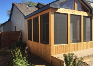 Side View of Attached Cedar Screen Room Algonquin