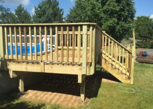 Small Free standing Wood Pool Deck Lake County
