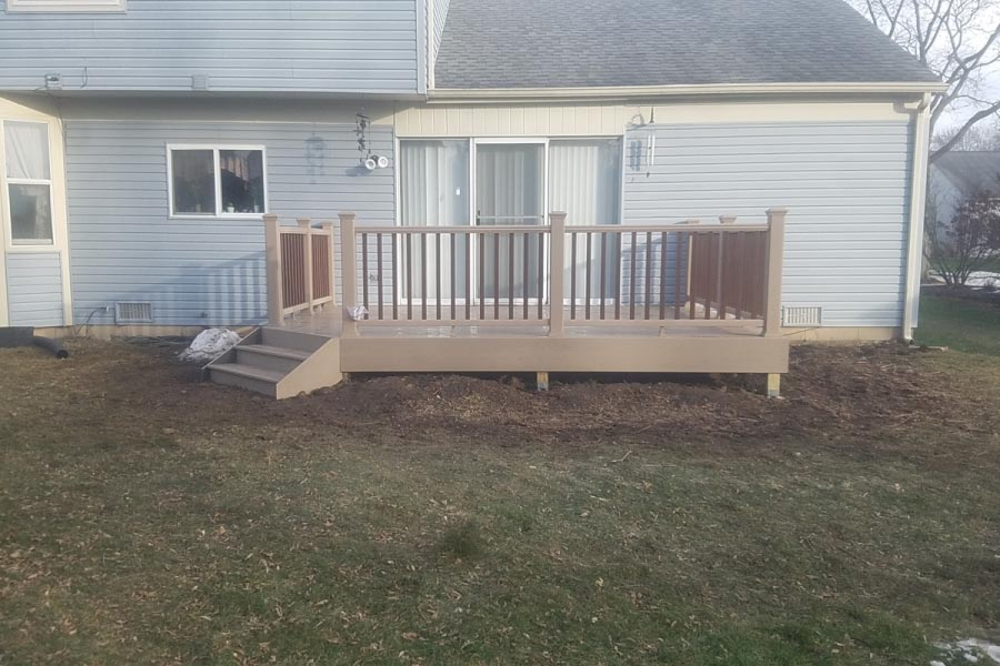 Small Rope Swing Trex® Deck with Fire Pit Balusters McHenry County 2