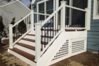 Small Trex® Tree House Deck with White Lattice Skirting Lake County