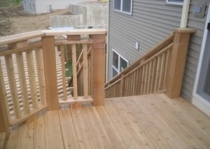 Small Wood Deck and Custom Railings Lakemoor