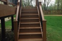 Tree House Trex® Deck with Stair Riser & Post Cap Lights Wonder Lake