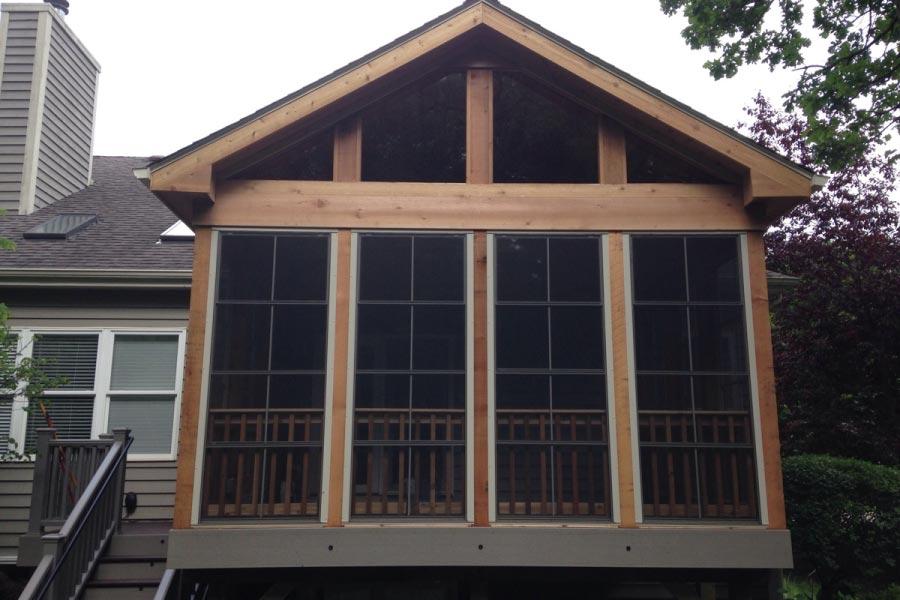 Trex® & Cedar Screen Room with EZE Breeze Panels Woodstock