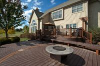 Trex® Custom Curve Deck with Benches and Fire Pit McHenry County