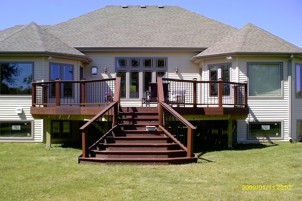 Trex® Deck with Flared Stairs Lake Geneva