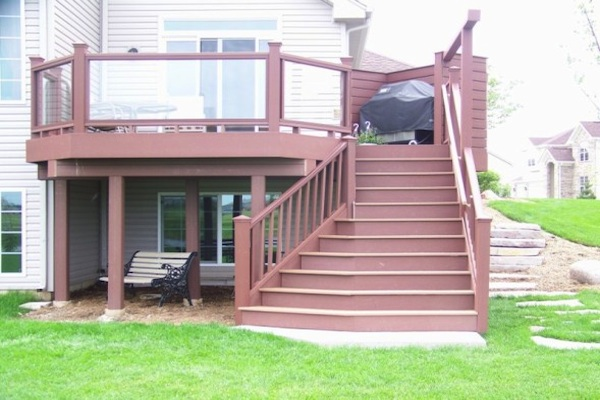 Trex® Deck with Glass Railings and Flared Stairs McHenry