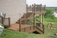 Trex® Deck with Stairs Built into Sloped Side Yard Elgin 2
