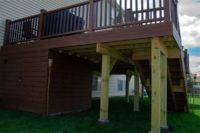 Trex® Deck with Under Deck Storage Shed Round Lake