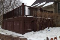 Trex® Fire Pit Deck with Lattice and Under Deck Storage West Dundee