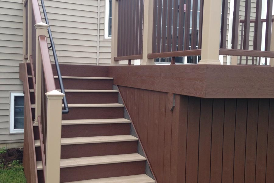 Trex® Fire Pit and Rope Swing Deck Stairs with ADA Handrail Lake County