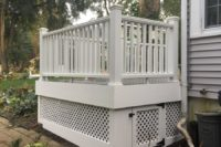 Trex® Island Mist Deck with Vinyl White Lattice Under Deck Storage McHenry County