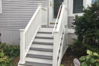 Trex® Island Mist Stairs with White Railings Lake County